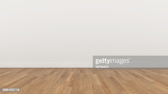 Empty Room White wall and wood  brown floor, 3d render Illustration Background Texture : Stock Photo