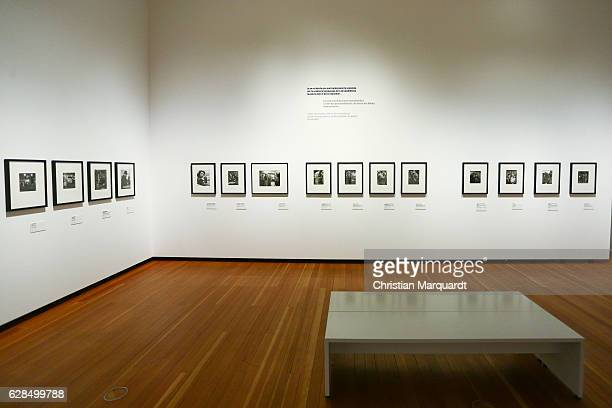 A empty room with artwork by Robert Doisneau pictured during the 'Robert Doisneau Fotografien' press conference and exhibition preview at Martin...