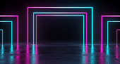 Empty Room With Colored Rectangle Neon Tubes With Reflection On Concrete Floor. 3D Rendering Illustration