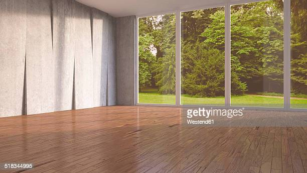 Empty room with concrete wall and wooden flooring, 3D Rendering