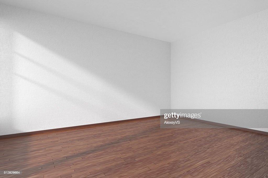 Legno Bianco Texture : Stanza vuota con pavimento in legno scuro e bianco texture pareti