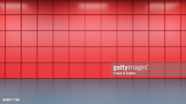 Empty room with modern metallic wall and concrete  floor