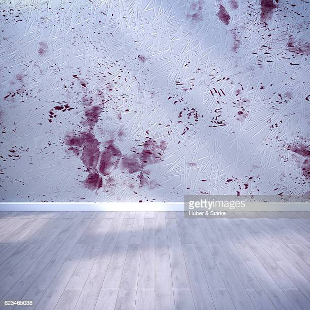 Empty room with modern wall and wooden floor