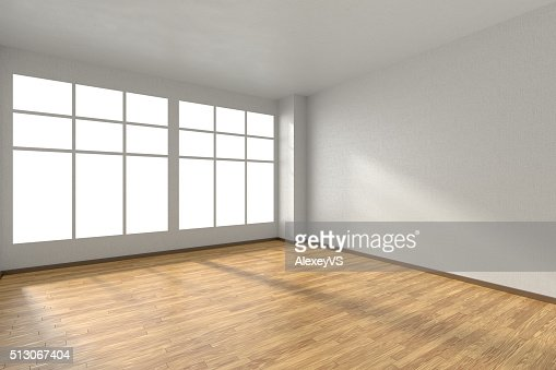 Empty room with parquet floor, textured white walls and window : Stock Photo