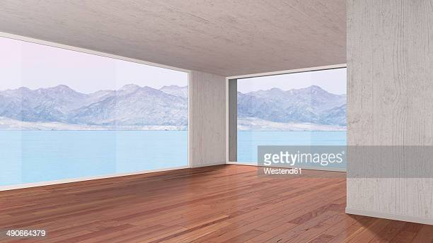 Empty room with parquet flooring, 3D rendering