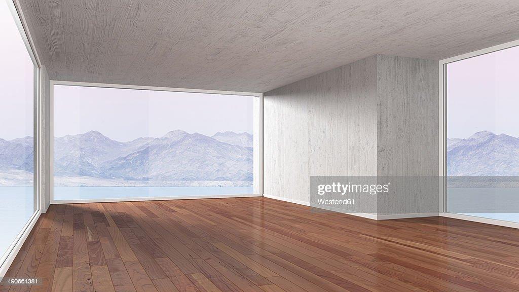 Empty room with parquet flooring, 3D rendering