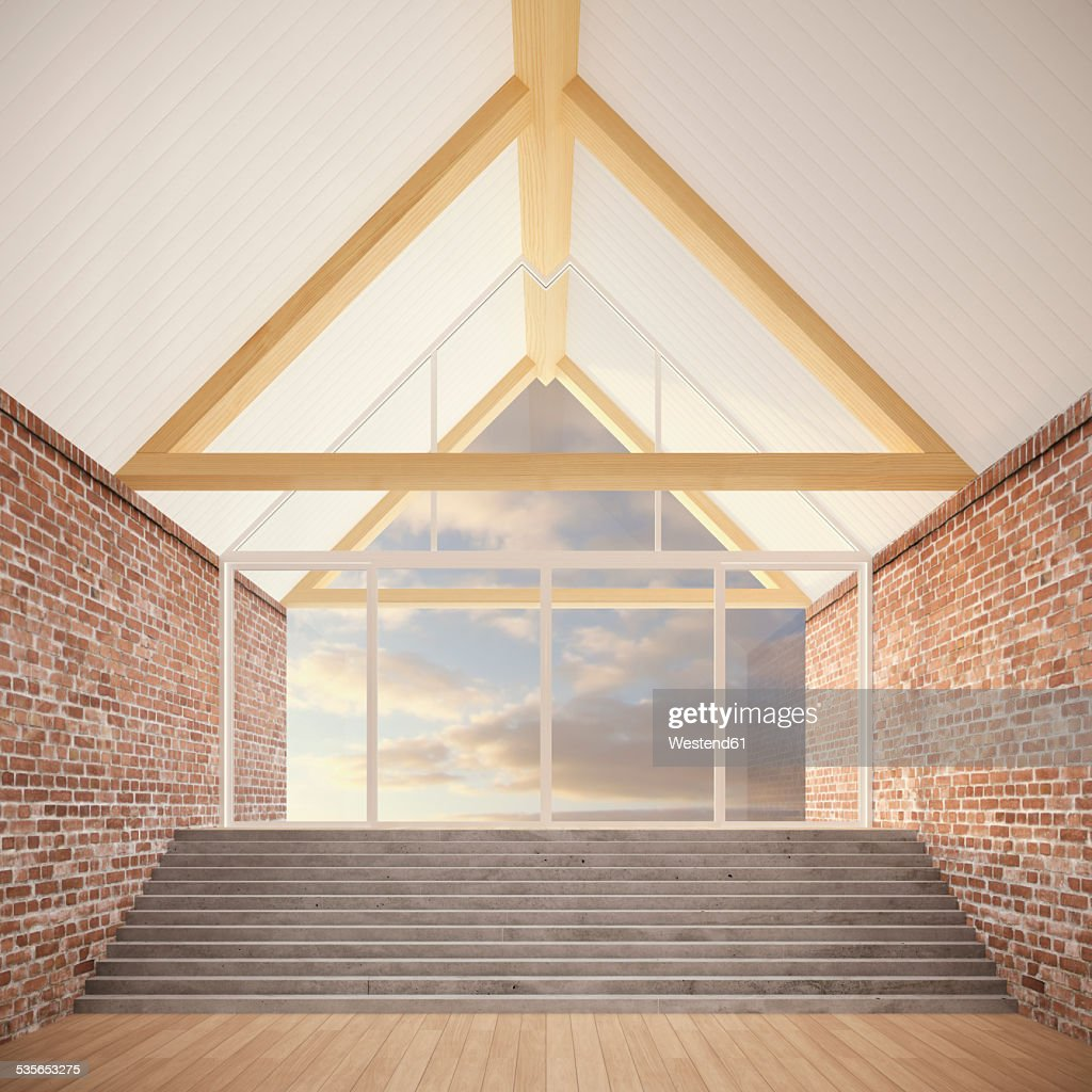 Empty Room With Roof Beams, Stair And Brick Walls, 3D Rendering : Stock  Photo