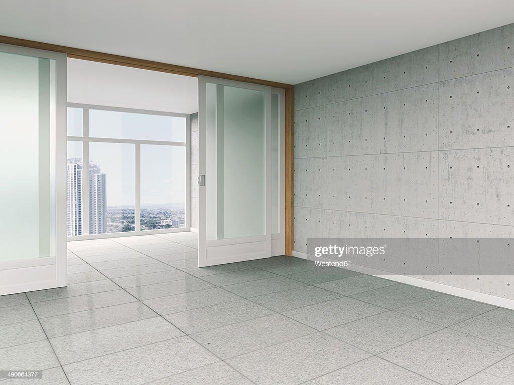 Empty room with sliding door and concrete wall, 3D rendering