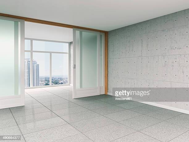 Empty room with sliding door and concrete wall, 3D rendering