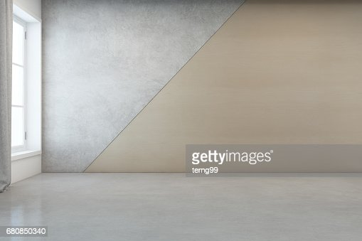 Empty room with white concrete floor and wooden wall background in modern house : Stock Photo