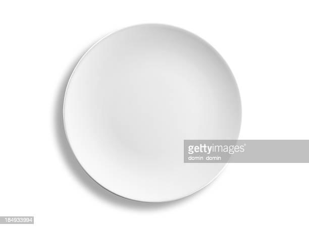 Leere Runde Abendessen Platte isoliert auf weißem Hintergrund, clipping path