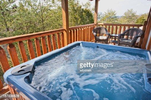A empty running hot tub on the balcony stock photo getty for Balcony hot tub