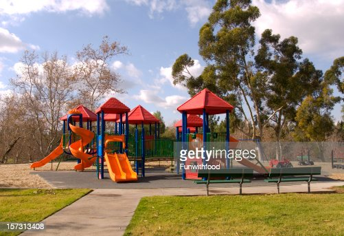 Empty Schoolyard Playground, Outdoor Play Equipment, Nobody at Park