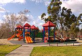 Empty Schoolyard Playground, Outdoor Play Equipment, Nobody at Park