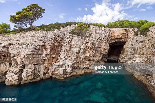 Empty sea cave at the Lokrum island in Croatia