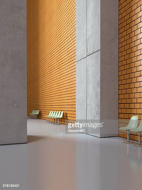 Empty seat rows in a lobby, 3D Rendering