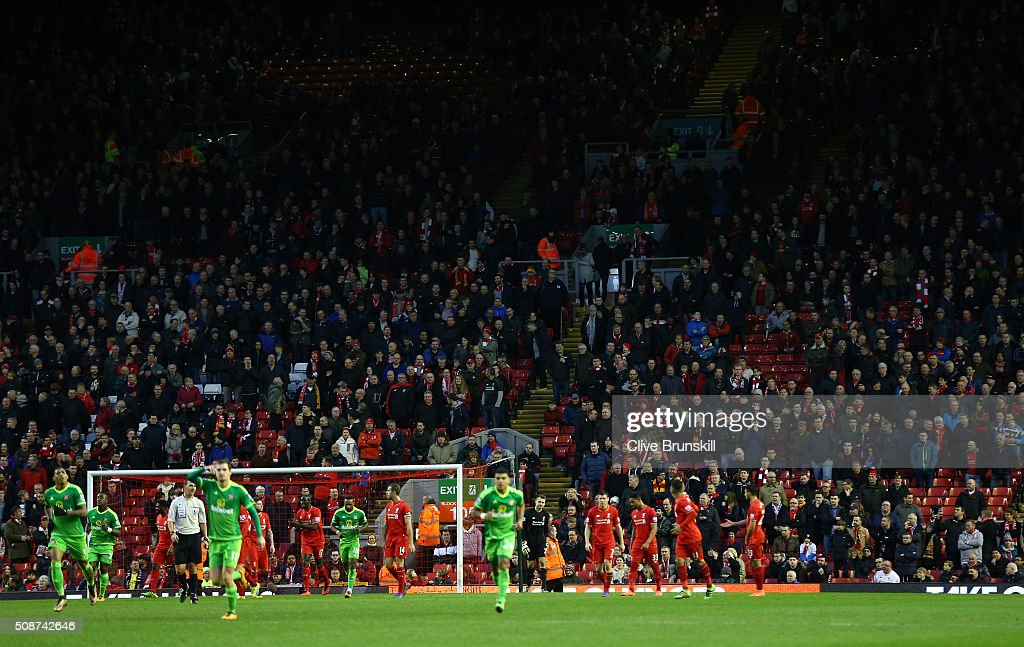 Empty seats are seen on the stand after some Liverpool supporters walked out to protest against the ticket price hike at the 77th minutes during the Barclays Premier League match between Liverpool and Sunderland at Anfield on February 6, 2016 in Liverpool, England.