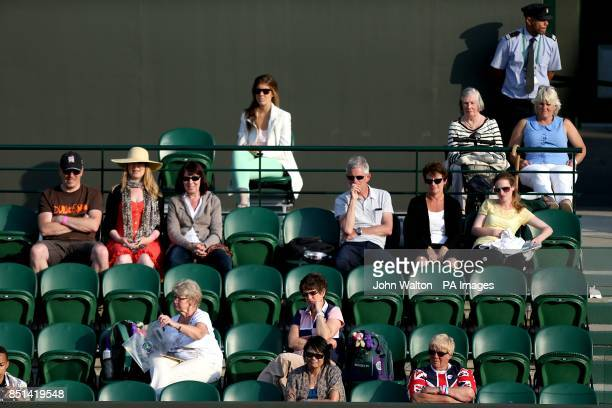 Empty seats around court number 2 as Belgium's Kirsten Flipkens plays Serbia's Bojana Jovanovski during day three of the Wimbledon Championships at...