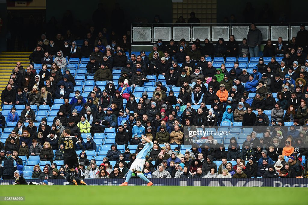 Empty seats at the end of the second half during the Barclays Premier League match between Manchester City and Leicester City at the Etihad Stadium on February 6, 2016 in Manchester, England.