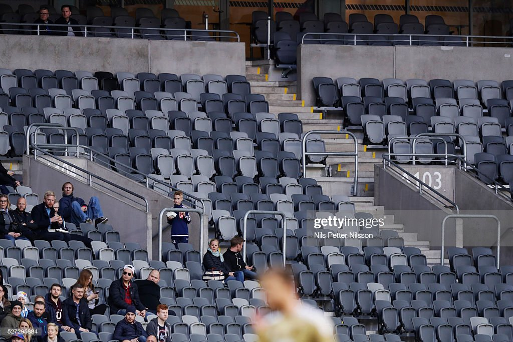 Empty seats during the Allsvenskan match between Djurgardens IF and Ostersunds FK at Tele2 Arena on May 2, 2016 in Stockholm, Sweden.