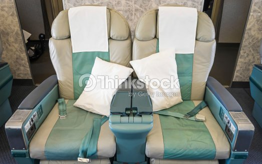 Empty Seats In A Modern Airplane Stock Photo