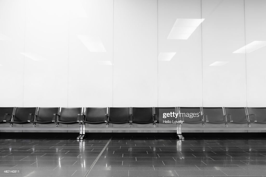 Empty seats in airport lobby : Stock Photo