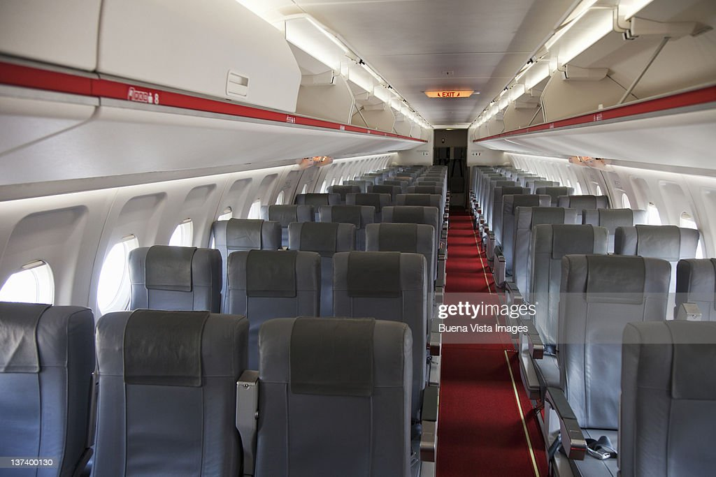 Empty seats in an airplane's interior