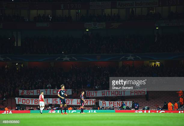 Empty seats in the stands as Bayern Munich fans protest against ticket prices during the UEFA Champions League Group F match between Arsenal FC and...