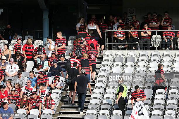 Empty seats left by Wanderers fans after walking out at the 30 minute mark during the round eight ALeague match between the Central Coast Mariners...
