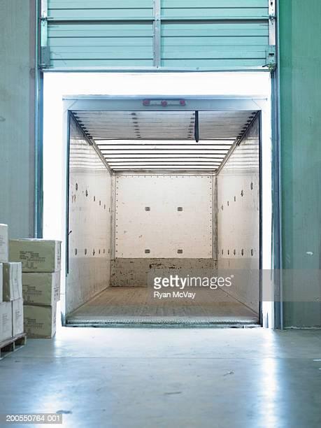 Empty semi-truck at loading dock
