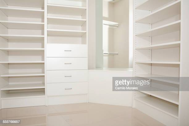 Empty shelves and drawers in modern walk-in closet