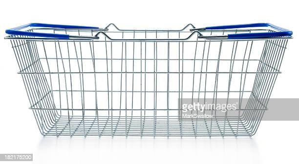 Empty shopping basket metal with blue handles