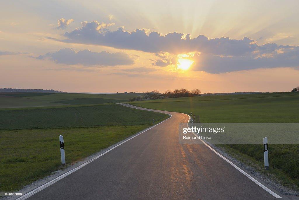 Empty single track road through fields. : Stock Photo