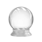 Empty snow globe isolated on white. 3D rendering