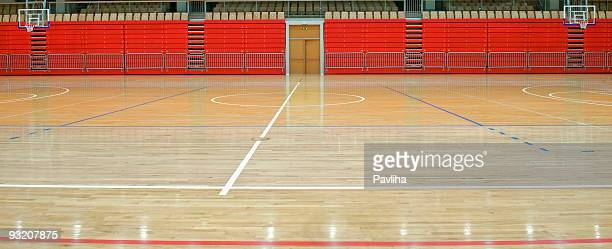 Empty Sports Hall with Red Stand and Lines