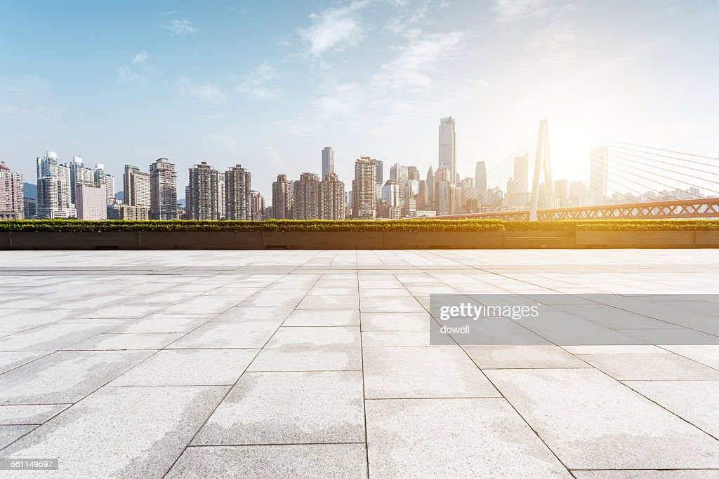 Empty square and modern skyline : Photo
