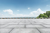 Empty city square floor and blue sky nature landscape