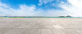 Empty square floor under the blue sky,panoramic view