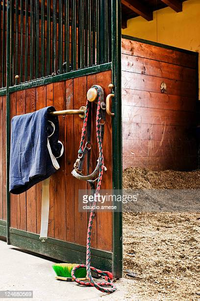 Empty Stable with Open Door. Color Image