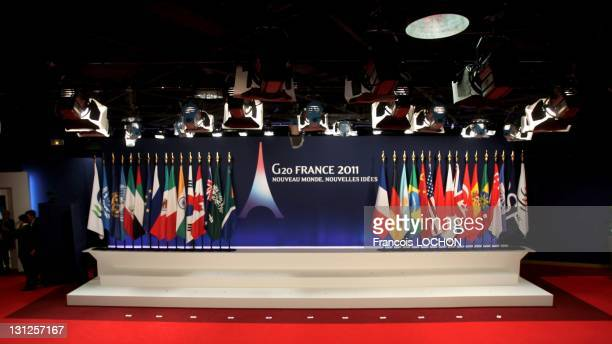 Empty stage ahead of the family photograph at the Group of 20 Cannes Summit at the Palais des Festivals on November 3 2011 in Cannes France The...