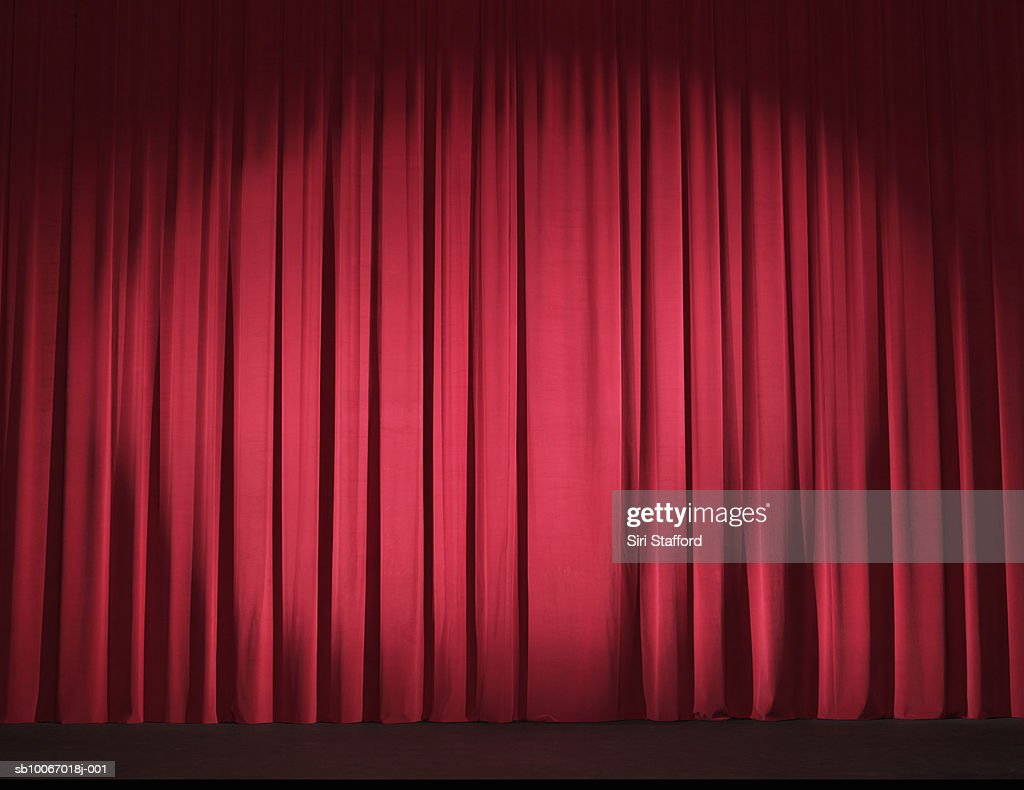 Empty stage with curtains closed : Stock Photo
