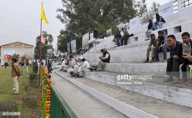 Empty stands are seen on the inaugural day of Kila Raipur Rural Sports Festival at village Kila Raipur on February 17 2017 in Ludhiana India