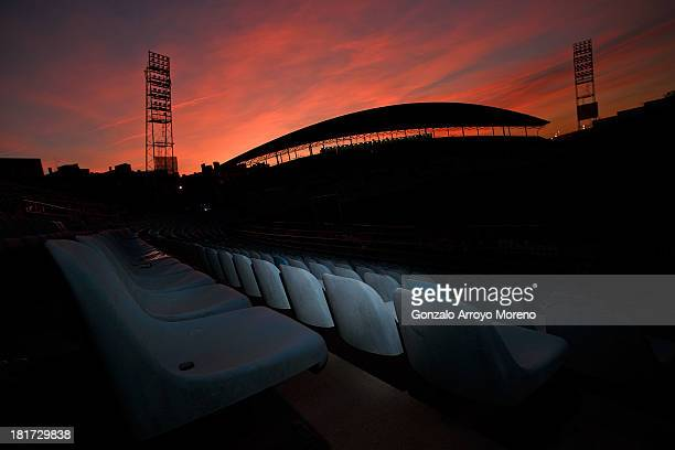 empty stands at Coliseum Alfonso Perez stadium at sunset after the La Liga match between Getafe CF and CA Osasuna at Coliseum Alfonso Perez on...