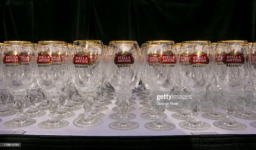 Empty Stella Artois glasses are lined up for the Food & Wine Classic opening night party on June 13, 2013, in Aspen, Colorado. The 31st Annual Food & Wine Classic brings together the world's top chefs and vintners in a culinary and beverage celebration.