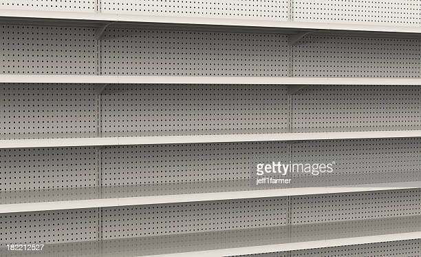 Empty store shelves ready to be filled