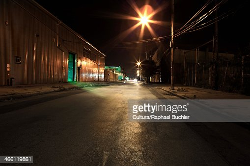 Empty street at night in New York, USA