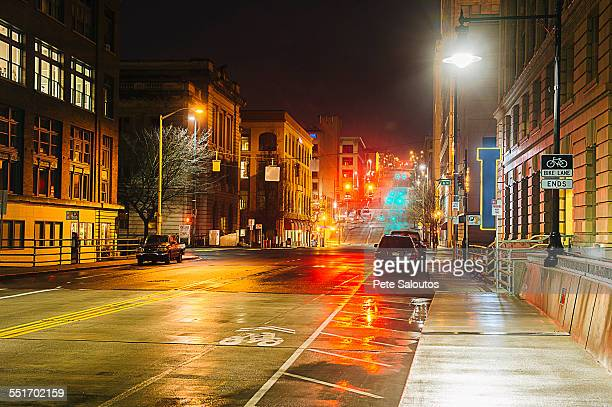 Empty street at night, Tacoma, Washington State, USA