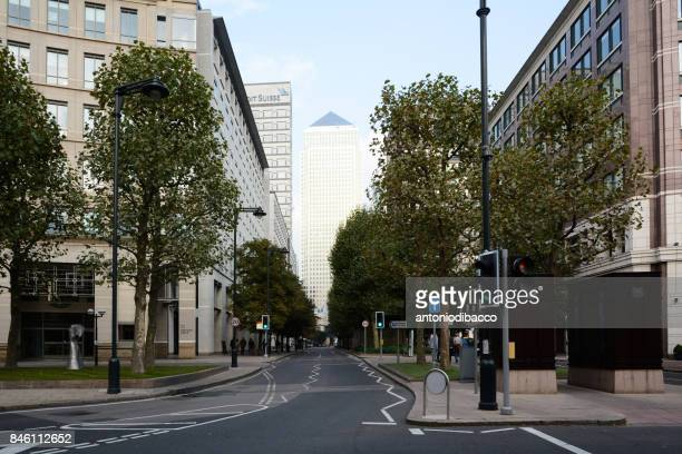 Empty street in Canary Wharf