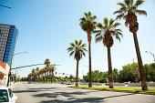 Empty street in downtown San Jose Califonria