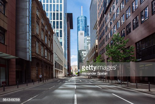 Empty street in Frankfurt am Main, Germany